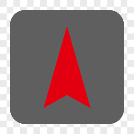 Arrowhead Up interface toolbar button. Vector icon style is a flat symbol in a rounded square button, red and gray colors, chess transparent background.