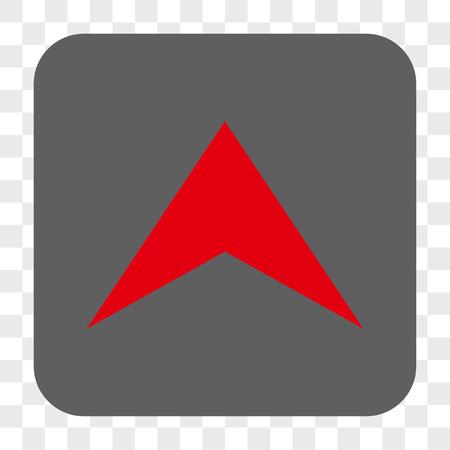 Bouton de la barre d'outils de l'interface Arrowhead Up. Style d'icône Vector est un symbole plat à l'intérieur d'un bouton carré arrondi, couleurs rouge et gris, fond transparent d'échecs.
