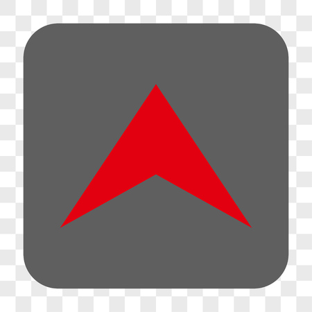 Arrowhead Up interface toolbar button. Vector icon style is a flat symbol inside a rounded square button, red and gray colors, chess transparent background. Illustration