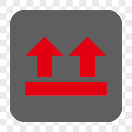 bring up: Bring Up interface toolbar button. Vector icon style is a flat symbol in a rounded square button, red and gray colors, chess transparent background.