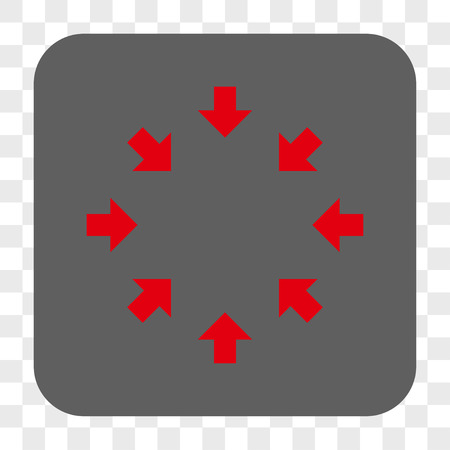 shrink: Compact Arrows interface toolbar button. Vector icon style is a flat symbol in a rounded square button, red and gray colors, chess transparent background. Illustration