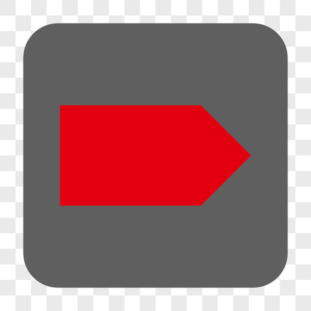 Direction Right interface toolbar button. Vector icon style is a flat symbol in a rounded square button, red and gray colors, chess transparent background.
