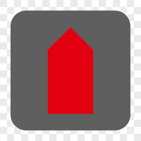 Direction Up interface toolbar button. Vector icon style is a flat symbol on a rounded square button, red and gray colors, chess transparent background.