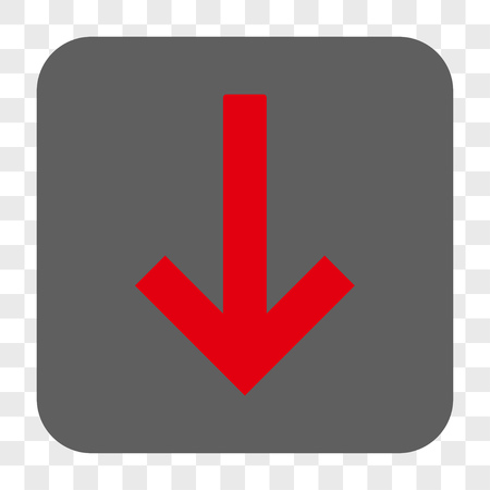 Down Arrow interface toolbar button. Vector icon style is a flat symbol inside a rounded square button, red and gray colors, chess transparent background.