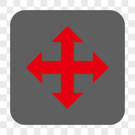 expand: Expand Arrows interface toolbar button. Vector icon style is a flat symbol on a rounded square button, red and gray colors, chess transparent background.
