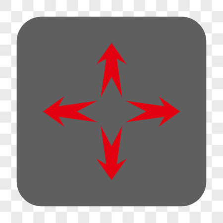 expand: Expand Arrows interface toolbar button. Vector icon style is a flat symbol in a rounded square button, red and gray colors, chess transparent background.