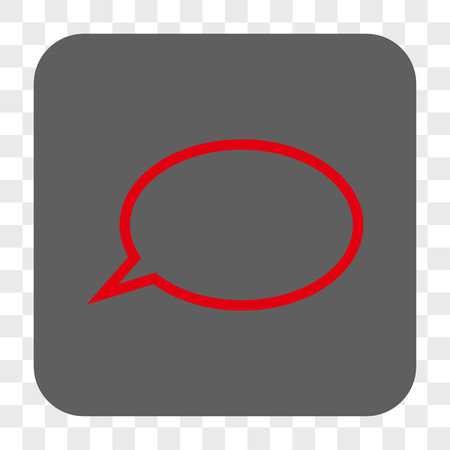 hint: Hint Cloud interface toolbar button. Vector icon style is a flat symbol inside a rounded square button, red and gray colors, chess transparent background.