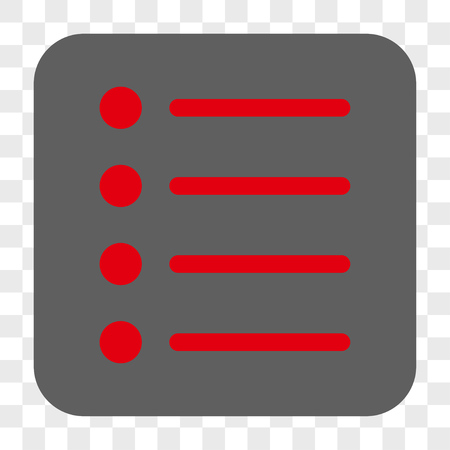 Items interface toolbar button. Vector icon style is a flat symbol inside a rounded square button, red and gray colors, chess transparent background.