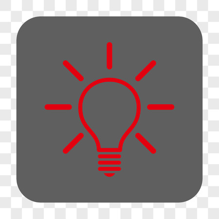 gray bulb: Light Bulb interface toolbar button. Vector icon style is a flat symbol in a rounded square button, red and gray colors, chess transparent background.