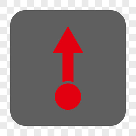 pull: Pull Up interface toolbar button. Vector icon style is a flat symbol in a rounded square button, red and gray colors, chess transparent background.
