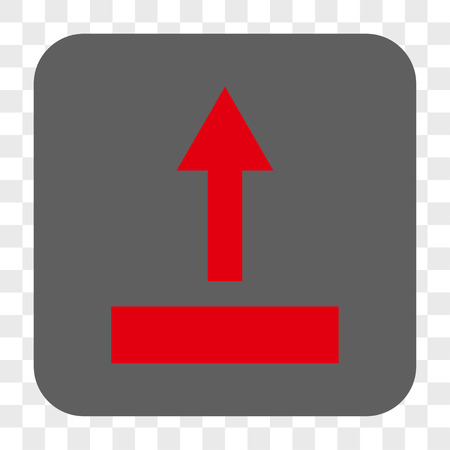 Pull Up interface toolbar button. Vector icon style is a flat symbol on a rounded square button, red and gray colors, chess transparent background.