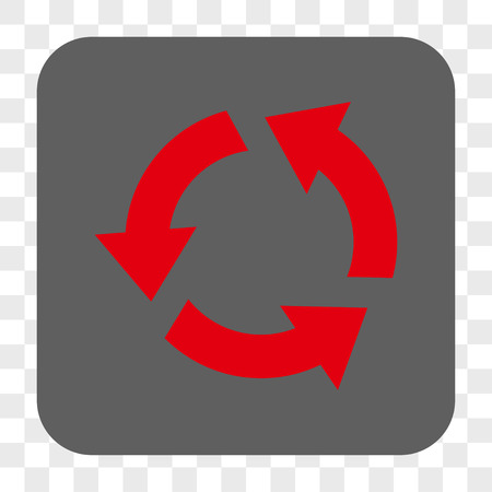 utilization: Recycle interface toolbar button. Vector icon style is a flat symbol in a rounded square button, red and gray colors, chess transparent background.