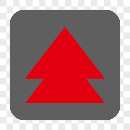 Move Up interface toolbar button. Vector icon style is a flat symbol inside a rounded square button, red and gray colors, chess transparent background. Illustration