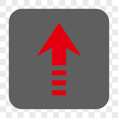 Send Up interface toolbar button. Vector icon style is a flat symbol inside a rounded square button, red and gray colors, chess transparent background.