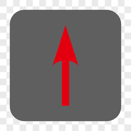 Sharp Arrow Up interface toolbar button. Vector icon style is a flat symbol in a rounded square button, red and gray colors, chess transparent background.