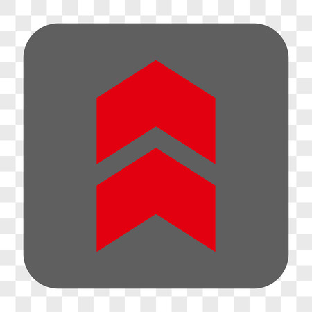 Shift Up interface toolbar button. Vector icon style is a flat symbol in a rounded square button, red and gray colors, chess transparent background. Illustration