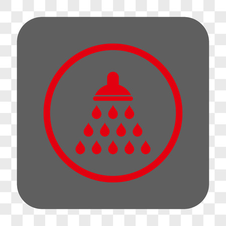 antiseptic: Shower interface toolbar button. Vector icon style is a flat symbol on a rounded square button, red and gray colors, chess transparent background. Illustration