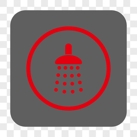 sterilize: Shower interface toolbar button. Vector icon style is a flat symbol on a rounded square button, red and gray colors, chess transparent background. Illustration