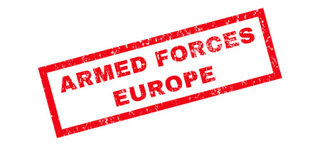 armed services: Armed Forces Europe text rubber seal stamp watermark. Caption inside rectangular banner with grunge design and scratched texture. Slanted glyph red ink emblem on a white background.