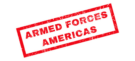 americas: Armed Forces Americas text rubber seal stamp watermark. Caption inside rectangular banner with grunge design and scratched texture. Slanted glyph red ink emblem on a white background.
