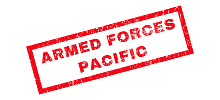 armed services: Armed Forces Pacific text rubber seal stamp watermark. Caption inside rectangular banner with grunge design and scratched texture. Slanted glyph red ink emblem on a white background.