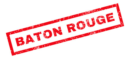 baton rouge: Baton Rouge text rubber seal stamp watermark. Caption inside rectangular shape with grunge design and dirty texture. Slanted glyph red ink sign on a white background. Stock Photo