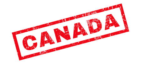 canada stamp: Canada text rubber seal stamp watermark. Caption inside rectangular shape with grunge design and dirty texture. Slanted glyph red ink sticker on a white background. Stock Photo