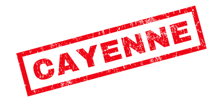 cayenne: Cayenne text rubber seal stamp watermark. Caption inside rectangular shape with grunge design and scratched texture. Slanted glyph red ink sticker on a white background. Stock Photo