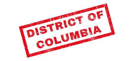 district of columbia: District Of Columbia text rubber seal stamp watermark. Caption inside rectangular banner with grunge design and scratched texture. Slanted glyph red ink sign on a white background. Stock Photo