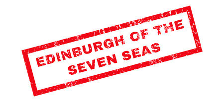 seas: Edinburgh Of The Seven Seas text rubber seal stamp watermark. Tag inside rectangular banner with grunge design and dirty texture. Slanted glyph red ink emblem on a white background.