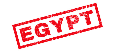 glyph: Egypt text rubber seal stamp watermark. Tag inside rectangular banner with grunge design and dirty texture. Slanted glyph red ink sign on a white background.