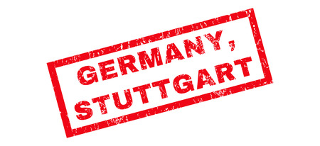 stuttgart: Germany, Stuttgart text rubber seal stamp watermark. Tag inside rectangular banner with grunge design and scratched texture. Slanted glyph red ink emblem on a white background.