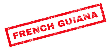 guiana: French Guiana text rubber seal stamp watermark. Caption inside rectangular shape with grunge design and scratched texture. Slanted glyph red ink sign on a white background.