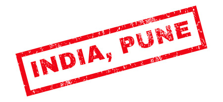 pune: India, Pune text rubber seal stamp watermark. Tag inside rectangular banner with grunge design and unclean texture. Slanted glyph red ink sign on a white background. Stock Photo