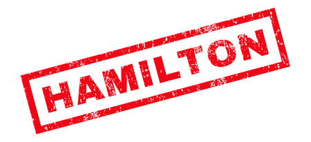 hamilton: Hamilton text rubber seal stamp watermark. Caption inside rectangular shape with grunge design and unclean texture. Slanted glyph red ink sign on a white background. Stock Photo
