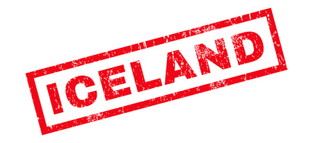 iceland: Iceland text rubber seal stamp watermark. Caption inside rectangular banner with grunge design and dirty texture. Slanted glyph red ink emblem on a white background.