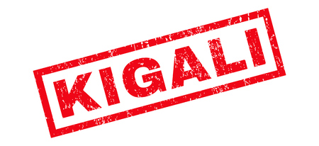 kigali: Kigali text rubber seal stamp watermark. Tag inside rectangular shape with grunge design and unclean texture. Slanted glyph red ink sticker on a white background.