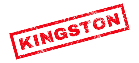 kingston: Kingston text rubber seal stamp watermark. Tag inside rectangular banner with grunge design and dirty texture. Slanted glyph red ink emblem on a white background.
