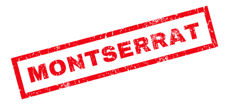 montserrat: Montserrat text rubber seal stamp watermark. Caption inside rectangular banner with grunge design and dust texture. Slanted glyph red ink sign on a white background.