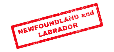 Newfoundland and Labrador text rubber seal stamp watermark. Caption inside rectangular shape with grunge design and dust texture. Slanted glyph red ink sticker on a white background.