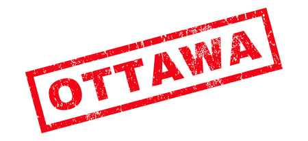 Ottawa text rubber seal stamp watermark. Tag inside rectangular banner with grunge design and dust texture. Slanted glyph red ink sign on a white background. Stock Photo