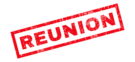 reunion: Reunion text rubber seal stamp watermark. Tag inside rectangular shape with grunge design and dust texture. Slanted glyph red ink sign on a white background.