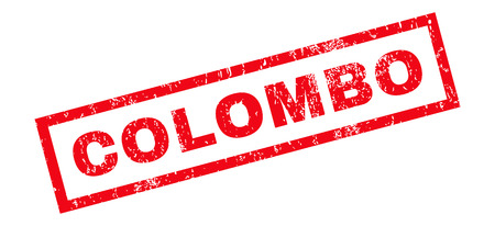 colombo: Colombo text rubber seal stamp watermark. Caption inside rectangular shape with grunge design and dirty texture. Slanted glyph red ink sticker on a white background.