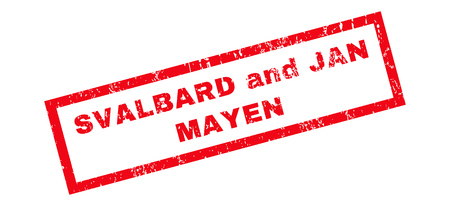 jan: Svalbard and Jan Mayen text rubber seal stamp watermark. Caption inside rectangular shape with grunge design and scratched texture. Slanted glyph red ink emblem on a white background.