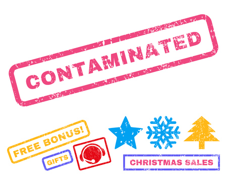 contaminated: Contaminated text rubber seal stamp watermark with bonus new year symbols. Tag inside rectangular banner with grunge design and unclean texture.