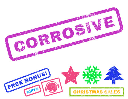 corrosive: Corrosive text rubber seal stamp watermark with additional bonus new year symbols. Tag inside rectangular shape with grunge design and dirty texture.