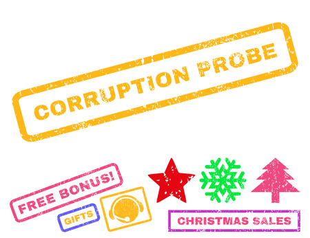 Corruption Probe text rubber seal stamp watermark with additional bonus new year symbols. Caption inside rectangular shape with grunge design and unclean texture.