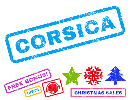 corsica: Corsica text rubber seal stamp watermark with bonus new year symbols. Tag inside rectangular shape with grunge design and dust texture.