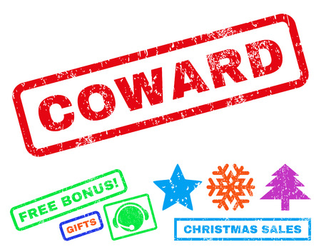 coward: Coward text rubber seal stamp watermark with bonus new year symbols. Caption inside rectangular shape with grunge design and dust texture.