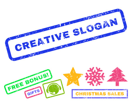 originative: Creative Slogan text rubber seal stamp watermark with additional bonus christmas symbols. Caption inside rectangular banner with grunge design and unclean texture.